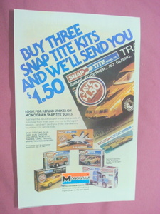 1981 Monogram Snap Tite Model Kits Color Ad Transam