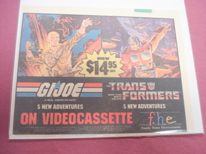 1980's Transformers & G.I. Joe Videocassette Color Ad