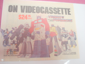 1980's Transformers Videocassette Color Ad