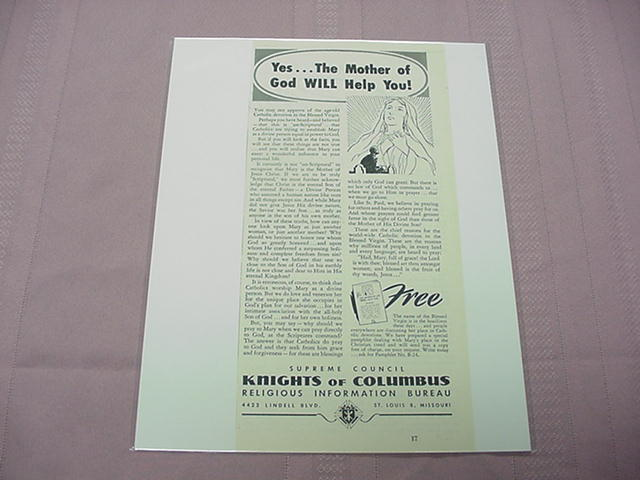 1951 Knights of Columbus Mary Ad