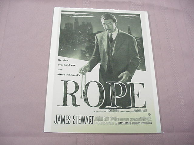 1948 Rope Alfred Hitchcock Movie Ad James Stewart