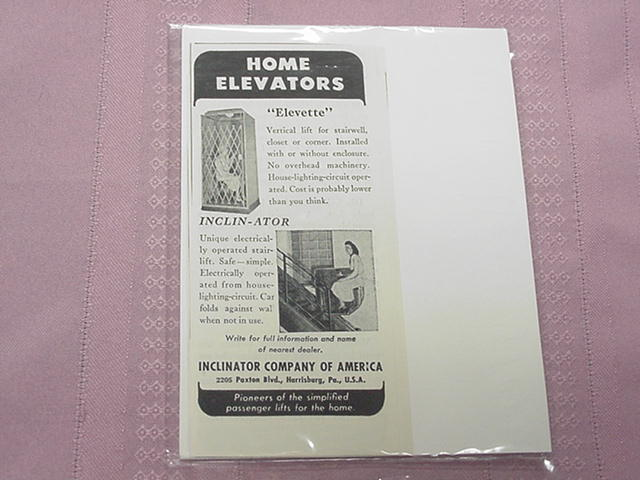 1951 Home Elevator Ad Inclinator Company of America