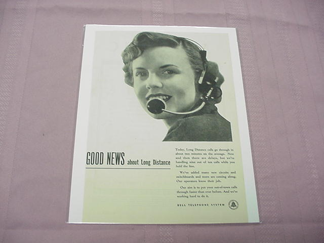 1948 Ad Bell Telephone System Good News About Long Distance