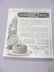 1919 Ad Ward's Paradise Fruit Cake