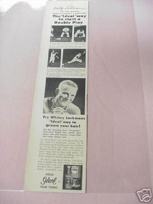 1955 Whitey Lockman N.Y. Giants First Baseman Fitch Ad