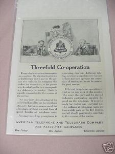1918 AT&T Ad Threefold Co-Operation