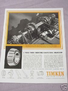 1937 Railroad Ad Timken Roller Bearing Co. Canton, Ohio