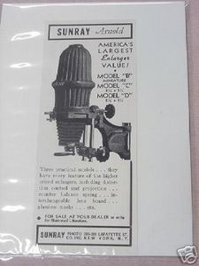 1941 Sunray Arnold Photo Enlargers Photography Ad