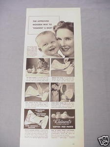 1940 Ad Kleinert's Softex Pad Pants For Baby