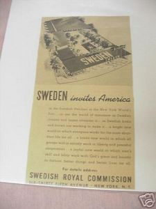 1939 New York World's Fair Page Sweden Pavillion