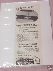 1941 Ad Faries Controlled Flourescent Desk Lamp