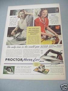 1940 Ad Proctor Never-Lift Iron