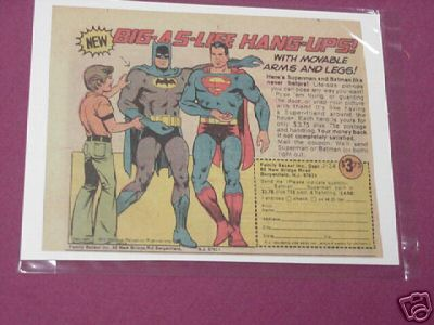 1975 Superman & Batman Hang-Ups Color Ad Family Bazaar
