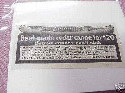 1915 Ad Detroit Canoes, Detroit Boat Co., Detroit, Mich
