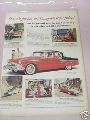1955 Studebaker Ad Drive It For Power