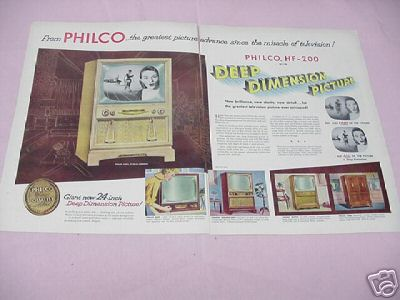 1953 Philco Television Ad 5 Styles Featured