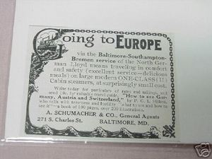 1913 Ad North German Lloyd Steamer Line To Europe