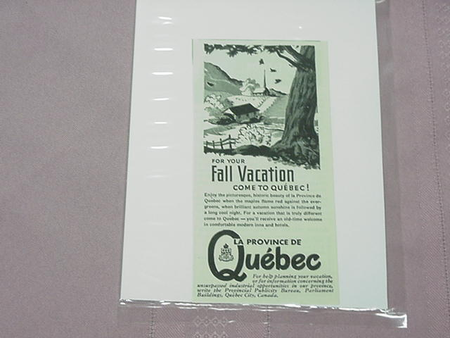 1948 Ad Quebec Fall Vacation