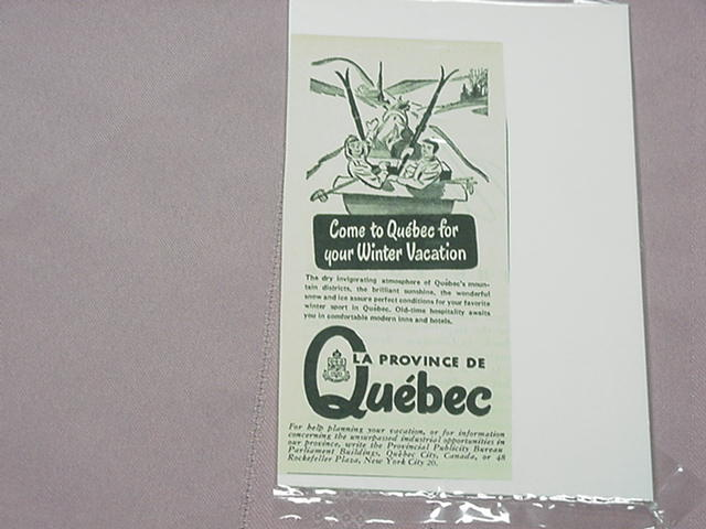 1948 Quebec Province Winter Tourism Ad