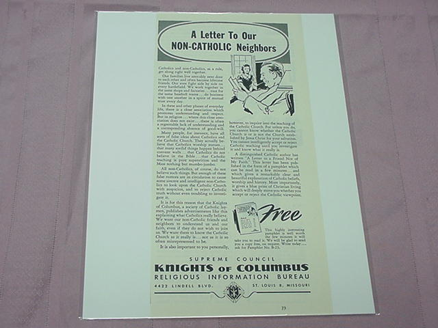 1951 Ad Knights of Columbus Letter To Non-Catholic Neighbors