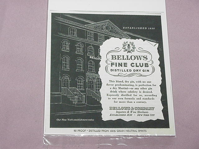 1951 Ad Bellow's Fine Club Distilled Dry Gin