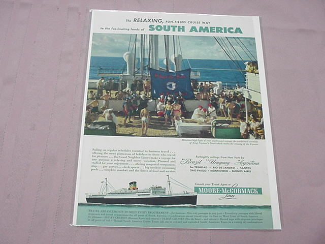 1951 Ad Moore-McCormack Lines Cruise Ship To South America