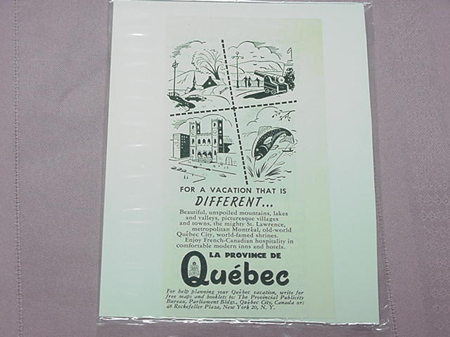 1951 Ad Quebec For a Different Vacation