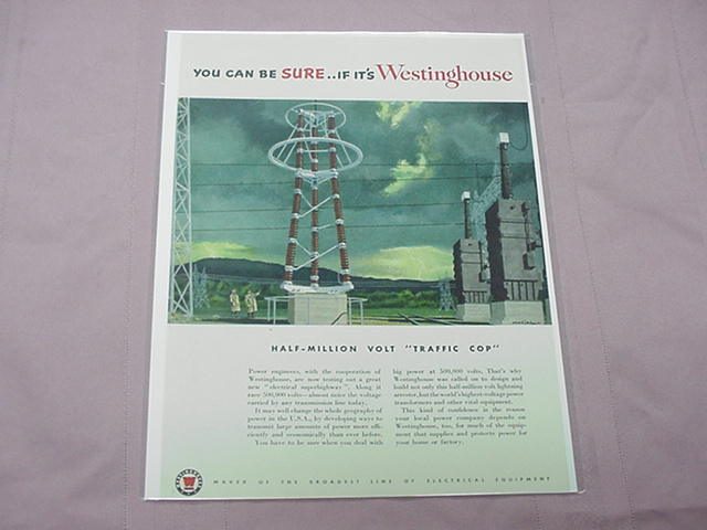 1951 Ad Westinghouse Half-Million Volt Lightning Arrester