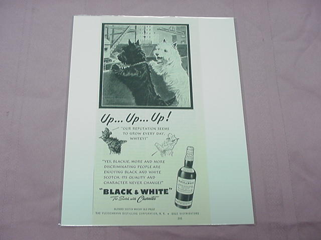 1951 Black & White Scotch Ad with Blackie & Whitey Up...Up...Up!