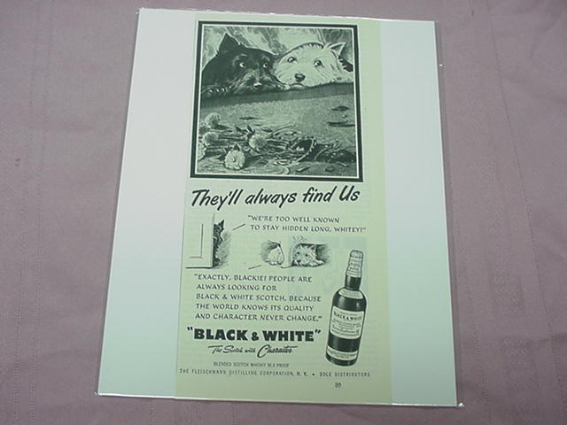 1951 Black and White Scotch Ad With Blackie and Whitey