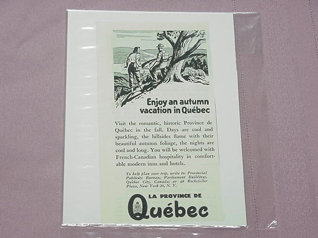 1951 Quebec Autumn Vacation Ad