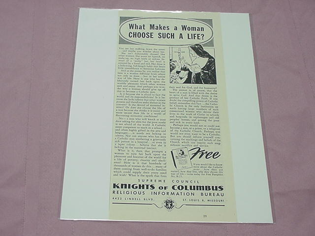 1951 Knights of Columbus Catholic Nun Ad