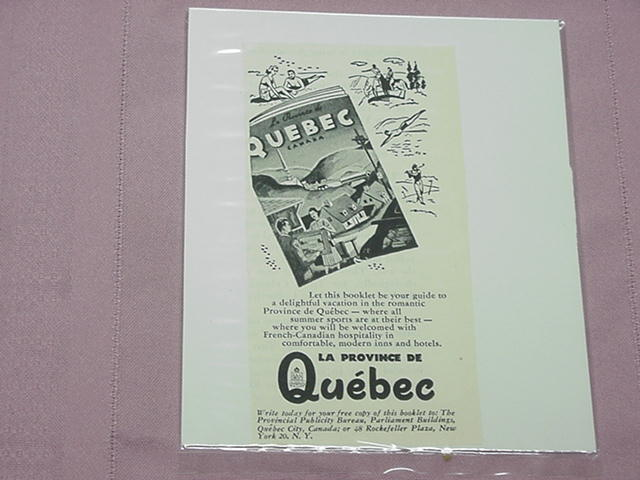1951 Quebec Vacation Booklet Ad