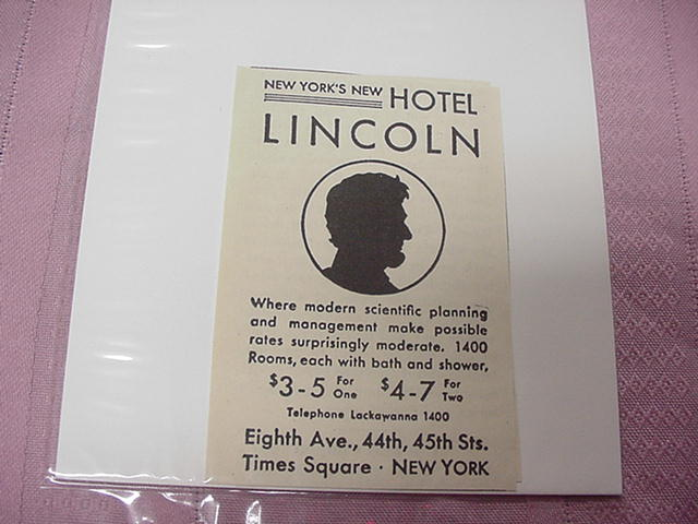 1930 Ad New York's New Lincoln Hotel