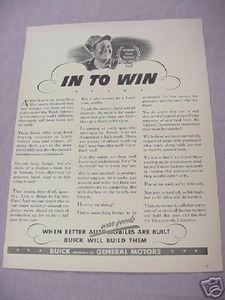 1942 World War II Buick War Goods Ad In To Win