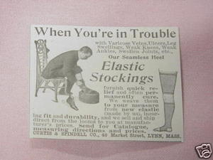 1902 Ad Elastic Stockings Curtis & Spindell, Lynn Mass.