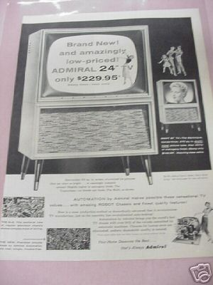 1955 Admiral TV Ad 2 Styles Featured