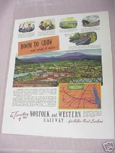 1941 Ad Norfolk and Western Railway Room To Grow N&W