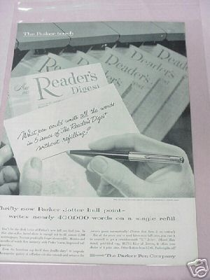 1955 Parker Jotter Ball Point Ad Parker Pen Company