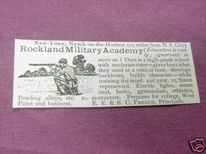1901 Ad Rockland Military Academy, Nyack-on-the-Hudson