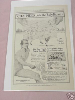 1915 Chalmers Union Suit Underwear Ad Chalmers Knitting