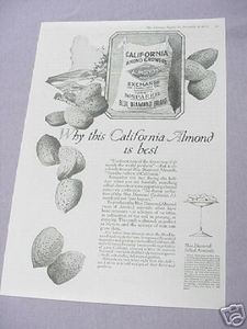 1919 Ad Blue Diamond Almonds from California