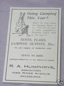 1897 Camping Equipment Ad R. A. Humphrys, Philadelphia