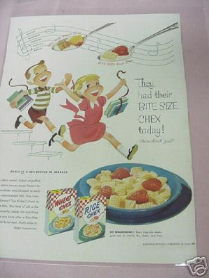 1954 Ralston Purina Company Rice & Wheat Chex Color Ad