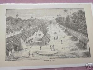 1889 Africa Illustrated Page A Village In Uregga