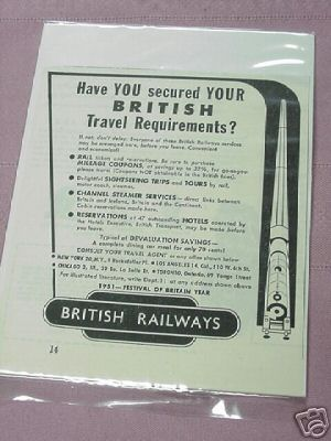 1951 British Railways Ad Railroad