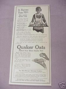 1917 Quaker Oats Ad With Oatmeal Cookies Recipe