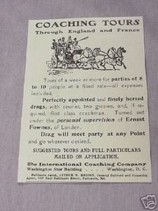 1901 Ad Coaching Tours Through England and France