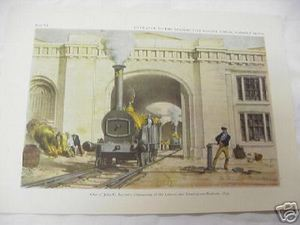 1947 Color Illustrated Page British Locomotive Engine House