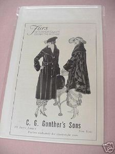 1918 Ad Gunther's Sons Furs, New York City